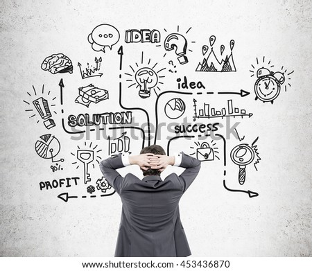 Businessman with hands behind head looking at concrete wall with business sketch. Success concept