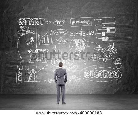 Businessman with hands in pockets standing in front of black wall with business scheme. Back view. Concept of starting business.