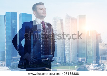 Businessman with hands on hips, office buildings, Singapore. Double exposure. Concept of work. - stock photo