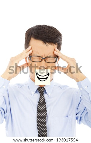 businessman with headache and smile expression on sticker - stock photo