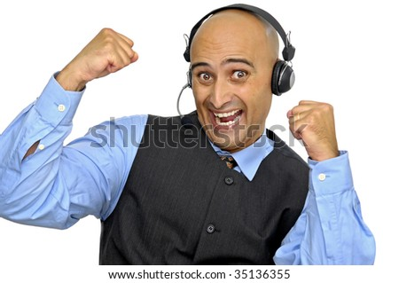 Businessman with headset isolated in white