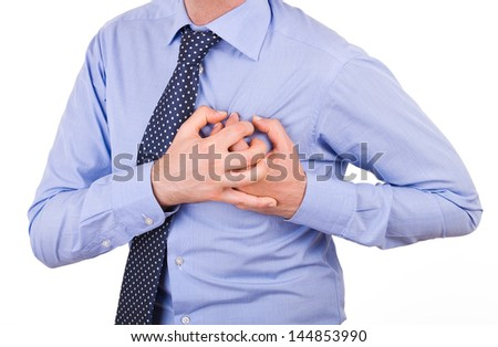 Businessman with heart attack. - stock photo