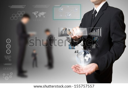businessman with high technology in hand