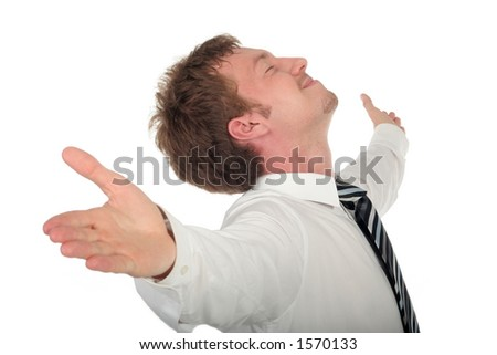 Businessman with his arms wide open - stock photo