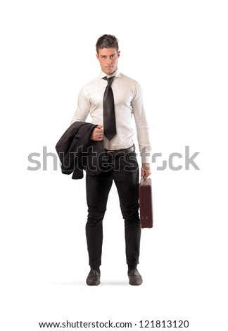 Businessman with his briefcase - stock photo