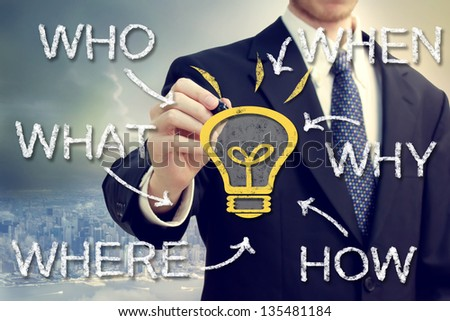 Businessman with idea light bulb and who what where when why and how above the city - stock photo