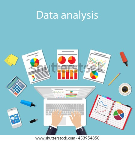 Businessman with laptop analyzes data. Analysis concept flat design. Process research financial growth statistics, data analysis, document, market, strategic, report. Raster version - stock photo