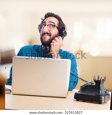businessman with laptop and telephone