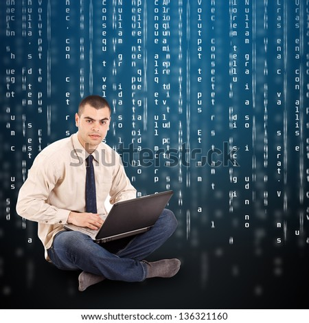 Businessman with laptop, digital code list on background