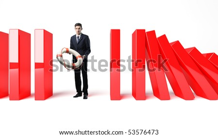 Businessman with Life Buoy Rescue offer his help - stock photo