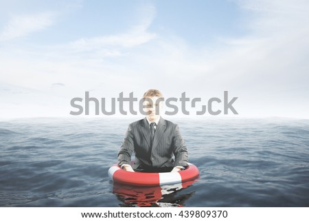 Businessman with lifebuoy ring in water waist-deep. Assurance concept. 3D Rendering - stock photo