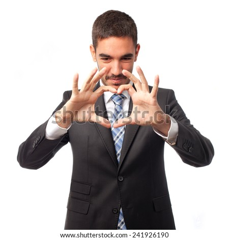 Businessman with love gesture
