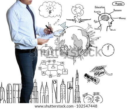 businessman with marker writing something isolated on white background - stock photo