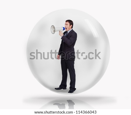 Businessman with megaphone in a bubble on white background