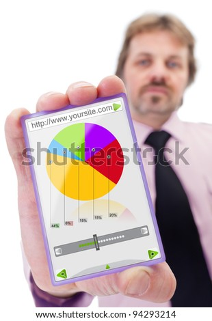 Businessman with modern smart glass panel like gadget - stock photo