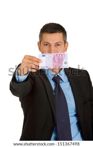 businessman with money - stock photo
