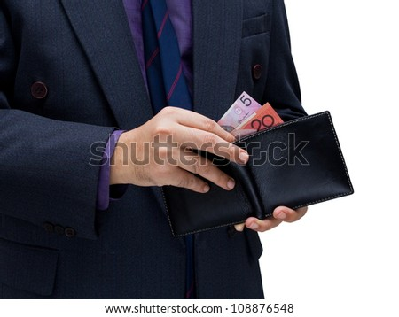Businessman with money and wallet isolated on white background - stock photo
