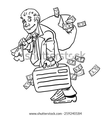 Businessman with money bag isolated on white background. Money.  - stock photo