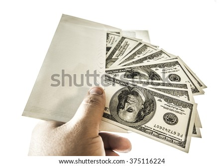 Businessman with money in studio isolated on a white background. Corruption concept. Hundred dollar bills. no face. unrecognizable person. - stock photo