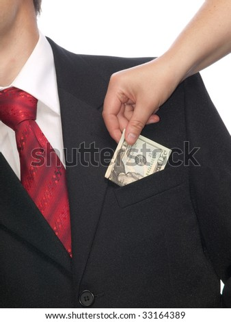 Businessman with money isolated on white