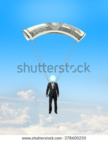 Businessman with money parachute on sky clouds background. Outside manager concepts. - stock photo