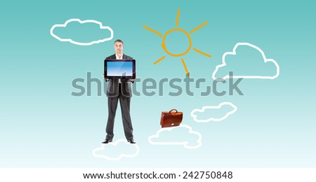 Businessman with new computer on clouds.Free Internet - stock photo