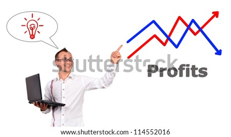 businessman with notebook points to growth chart