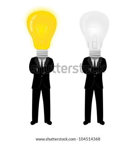 Businessman With On and Off Lamp Head Isolated on White Background - stock photo