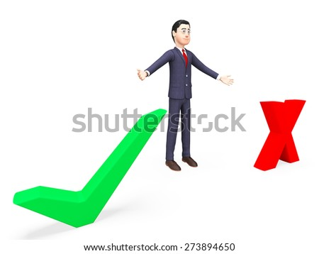 Businessman With Options Indicating Corporate Poll And Professional