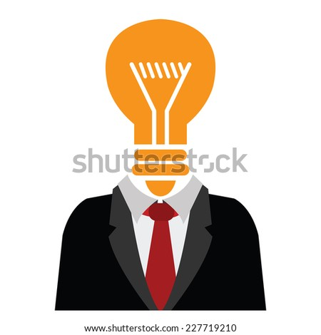Businessman With Orange Light Bulb Head Isolated on White Background  - stock photo