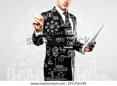 businessman with paper in hand drawing business concept, close up - stock photo