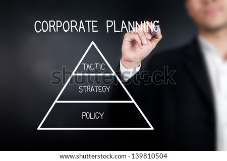 Businessman with pen drawing corporate planning on whiteboard - stock photo