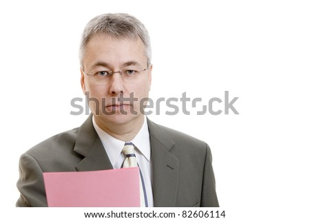 Businessman with pink slip - stock photo