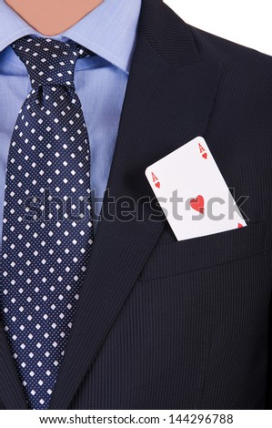 Businessman with playing card in his pocket. - stock photo