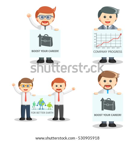 businessman with poster set