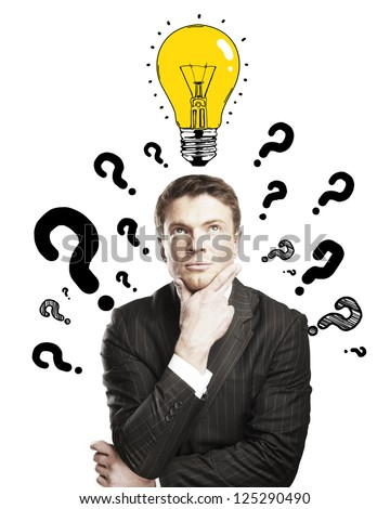 businessman with question mark and lamp on a white background - stock photo