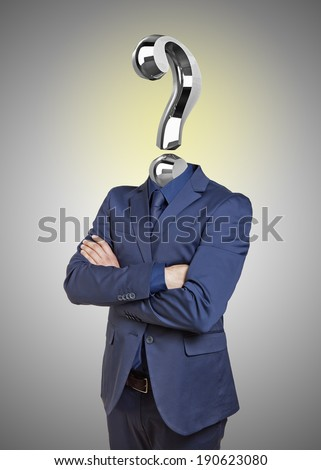 businessman with question mark instead of head on gray background