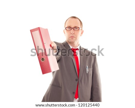 Businessman with ring binder - stock photo