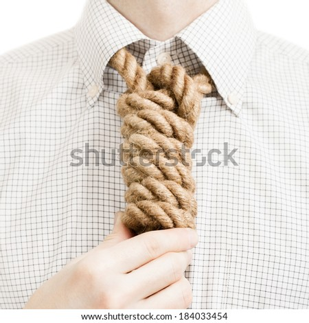 Businessman with rope over his neck - 1 to 1 ratio - stock photo