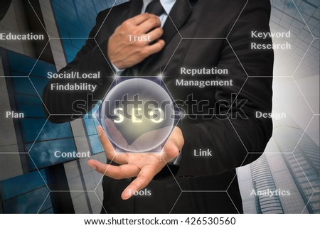 Businessman with show hand posture to present the SEO icon with business success model on of cityscape building background,Elements of this image furnished by NASA, Business technology concept - stock photo