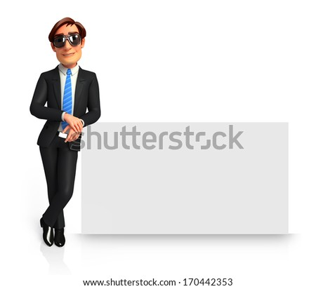 Businessman with sign