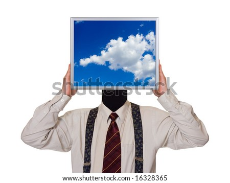 Businessman with sky computer screen, isolated on white background - stock photo