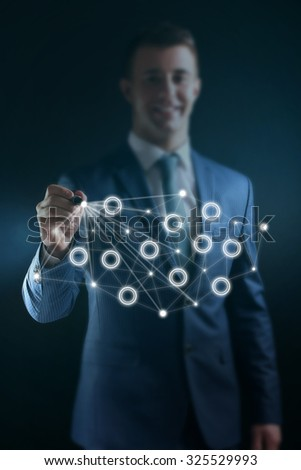 Businessman with social network structure