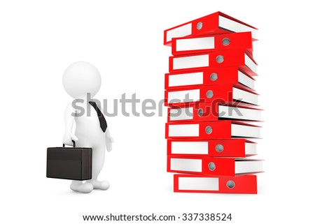 Businessman with Stack of Red Achive Office Binders on a white background