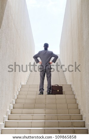 Businessman with stair in business concept - stock photo