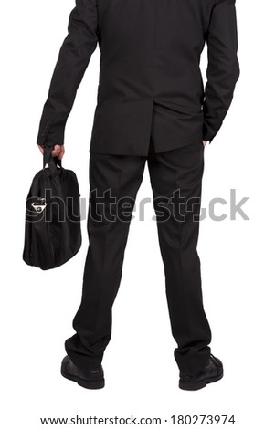 businessman with suitcase isolated on white background