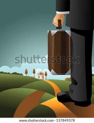 Businessman with suitcase. jpg - stock photo