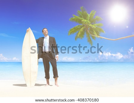 Businessman with surfboard on the beach. - stock photo