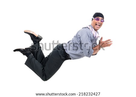 Businessman with swimming gear diving isolated in white