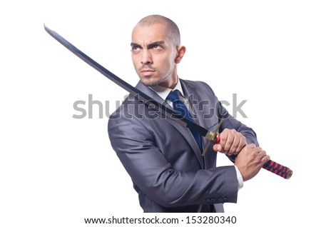 Businessman with sword isolated on white - stock photo